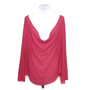 Cotton Candy Magenta Sheer Scoop Neck Blouse